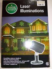 Winter Wonder Lane Illuminations Snow Flakes Green Laser Light with Timer New