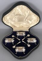 Antique 1909 ES Barnsley & Co English Sterling Silver Open Salt Cellars & Spoons