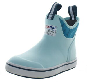 Xtratuf Women's Salmon Sisters Ankle Deck Boots Light Blue/Fish Print