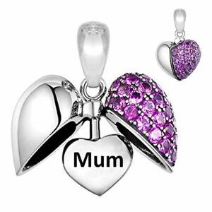 Mum Heart Charm Bracelet Bead Purple Crystal Sterling Silver - Christmas Gifts