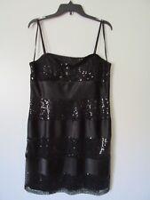 Dressbarn Black Sequin Spaghetti Strap Back Zip Above Knee Dress NWOT SZ: 16