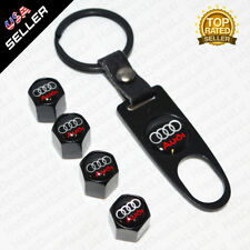 Black Car Wheel Tyre Tire Valve Dust Stems Air Caps + Keychain With Audi Emblem