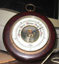 Barometer Wood Brass hanging colored dial antique vintage weather meter science
