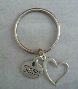 SISTER Tibetan Silver with Heart Keyring/Bag Charm.  Present/Gift.