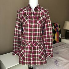 Western Vibe Plaid Drop Waist Tunic With Pockets