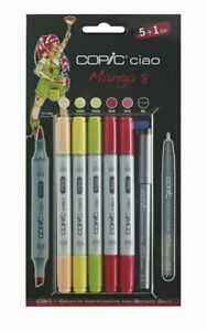 COPIC CIAO 5+1 MANGA SET 8 TWIN TIPPED MARKERS PLUS 0.3 FINELINER