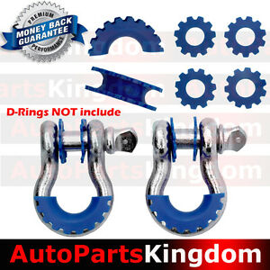 BLUE D-Ring Shackle Isolator & Washers 6pcs Set Rattling Protection Cover