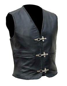 Mens Genuine Leather Motorcycle Waistcoat Biker Style Black Motorbike Vest