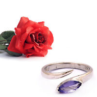 1.75 Ct Natural Genuine Tanzanite Marquise Shape 925 Sterling Silver Unique Ring