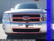 GTG 2008 - 2012 Ford Escape 3PC Gloss Black Overlay Combo Billet Grille Kit