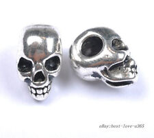 10Pcs Tibetan Silver Skull Spacer Charms Beads Jewelry Findings 13X10MM B40