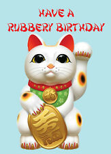 Have A Rubbery Birthday ~ Rucky Cats ~  Rude Card