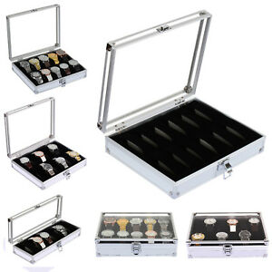 6/10/12 Aluminium Display Watch Box Case Organizer For Women Men Jewelry Storage