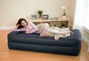 INTEX SINGLE DELUXE PLUSH RAISED AIR BED MATTRESS W ELECTRIC PUMP 42cm High