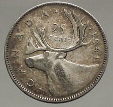1941 CANADA King George VI of Britain Domains Silver 25 Cent Coin CARIBOU i56641