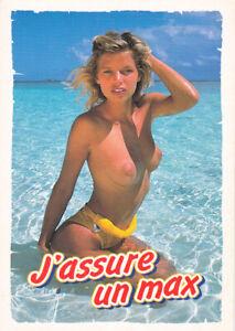 Carte postale postcard 10X15cm FEMME NUE SEXY MER PLAGE SEINS NAKED WOMAN j'assu