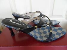 BLACK & GOLD STYLISH SLIP ON SANDALS WITH HEEL- SUIT SIZE 7-RRP $120.00