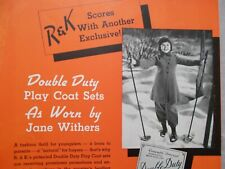 *FOUR* VINTAGE ORIGINAL 1936 JANE WITHER'S CHILD STAR CLOTHING ADVERTISEMENTS