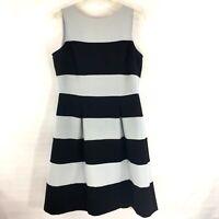 Ann Taylor Loft Women's Light & Navy Blue Striped Sleeveless A-line Dress 6