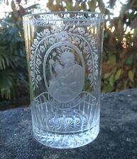 "ANTIQUE BOHEMIAN ENGLISH STOURBRIDGE HAND ENGRAVED GLASS VASE ""ST JOSEPH"""