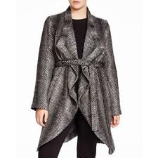 BB Dakota 8513 Womens Gray Knit Marled Long Sleeves Sweatercoat Plus 1X BHFO
