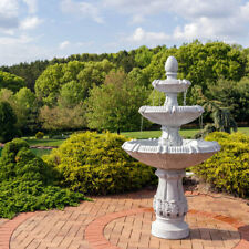 """Sunnydaze 3-Tier Gothic Finial Outdoor Water Fountain 73"""" Patio & Lawn Feature"""