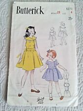 Vtg 1940s or 50s Girls Dress Pattern Butterick 5271 Quick & Easy Size 4 Chest 23