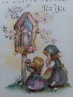 1947 Vtg Marjorie Cooper Rust Craft Children EASTER Prayer GREETING CARD
