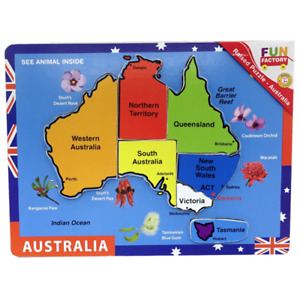 Colourful Australian Map Wooden Puzzle