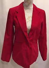 DENIM & CO WOMEN RED CORDUROY LONG SLEEVE JACKET COAT SIZE XS X-SMALL