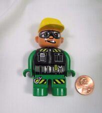 "LEGO DUPLO CRAZY RACER AUTO MOTORCYCLE MECHANIC MAN 2.5"" FIGURE Rare!"