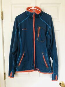 Mammut Regulator Polartec Fleece Jacket - Mens size XL Blue With Orange Trim