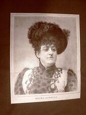 Raro ritratto del Soprano Medea Borelli Angelini del 1891 Teatro
