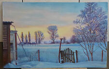 Hand painted Landscape ORIGINAL OIL Painting wall ART decor Winter is coming