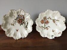 """2 19th century Limoges A Lanternier scalloped plates - floral decoration - 9"""""""