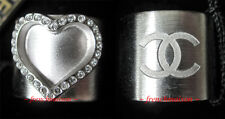 AUTHENTIC CHANEL CC Logo Ring HEART LOVE Silver Crystal New SOLD OUT 2 SIDES