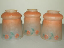 Antique 1930's Matching Lot 3 Deco Hand Painted Glass Pendant Tulip Lamp Shades