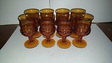 "8 Vintage Indiana Glass Amber Kings Crown Thumbprint Juice Wine Goblet 5 3/4 """