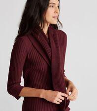 Eileen Fisher  Claret Merino Wool Ribbed Keyhole Scarf NWT