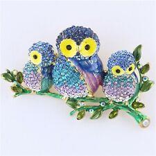 Multi-color Three Owls on a Branch Rhinestone Crystal Brooch Pin B1160