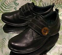 ECCO BLACK LEATHER SNEAKERS LOAFERS COMFORT DRESS SHOES US WOMENS SZ 6 6.5 EU 37