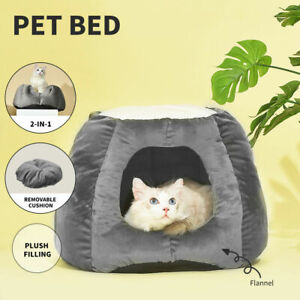 Cat House Bed Pet Dog Large Beds Igloo Bedding Castle Round Nest Cave (Grey)
