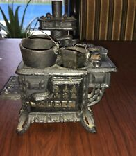 Vintage Queen Cast Iron Dollhouse Stove/ Oven w/Pots - Solid & Heavy