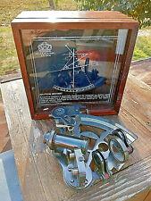 Sextant laiton13cm pour navigation et astronomie dans son coffret bois neuf