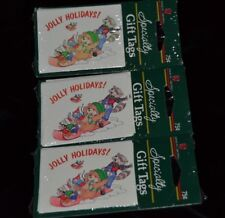 Vtg Lot 3 Christmas Holiday Paper Gift Tags RACCOON SNOW SLED SQUIRREL BEAR NIP