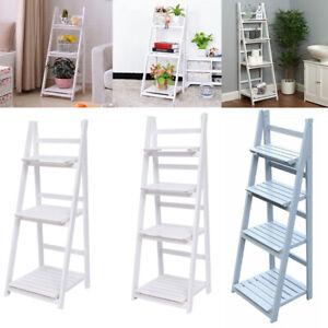 Folding Plants Stand 3/4 Tier Ladder Shelf Wood Bookshelf Storage Rack Home Deco