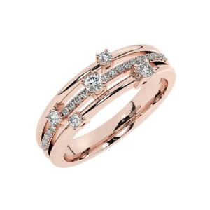 0.25ct Three Row Round Brilliant Diamond Half Eternity Wedding Ring 9K Rose Gold