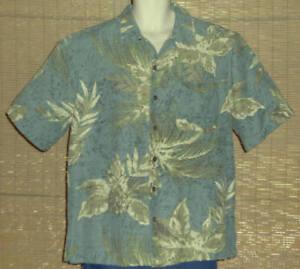 Havana Jack's Cafe Hawaiian Shirt Sage Green Olive Floral Silk size Large