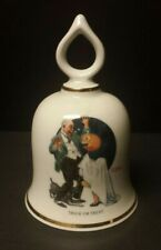 1979 Norman Rockwell Trick Or Treat Halloween Ceramic Bell - Danbury Mint