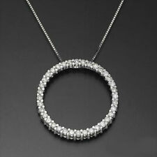 1 CT CIRCLE ROUND CERTIFIED DIAMOND NECKLACE 14K WHITE GOLD HOOP PENDANT RB